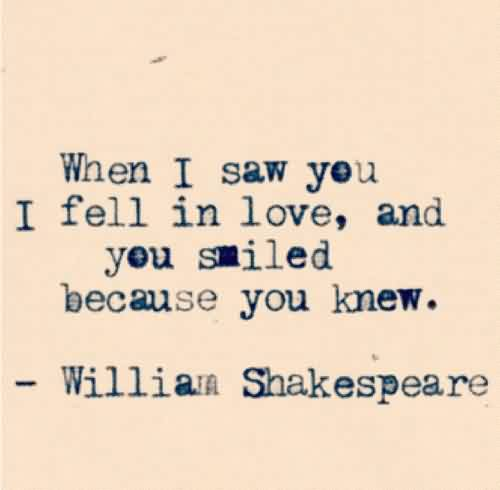 Good Celebrity Quote By William Shakespeare~ You smiled because you knew…