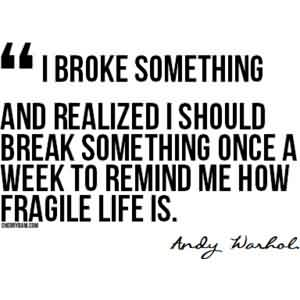 Good  Celebrity Quote ~ I broke something and realized  should break something once a week to remind me how fragile life is.