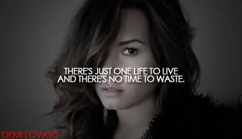 Good  Celebrity Quote ~ There's just one life to live and there's no time to waste..