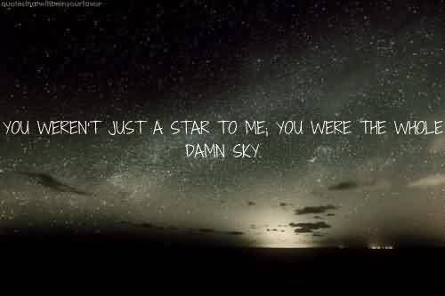Good Celebrity Quote ~ you Weren't just a star to me , you were the whole damn sky.