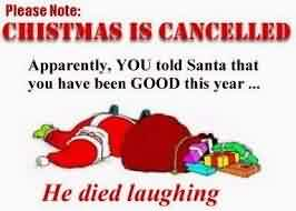 Good charity Quote ~ Chistmas is Cancelled Apparently , you told santa that you have been good this year.
