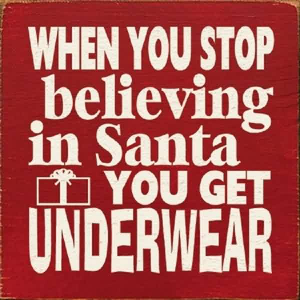 Good Charity Quote ~ When you stop believing in santa you get underwear.