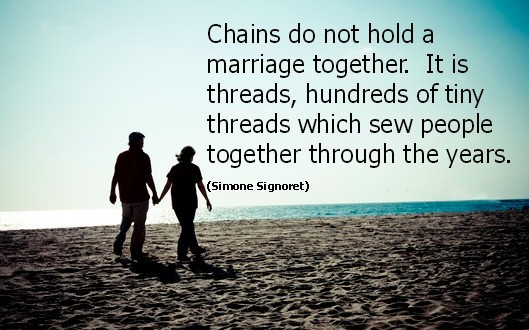 Good Clarity Quote By  Simone Signoret ~ Chains do not Hold a marriage together …