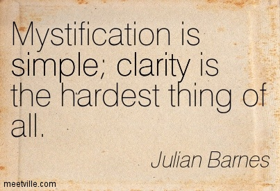 Good Clarity Quotes By Julian Barnes ~My stification is simple clarity is the hardest thing of all.