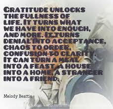 Good Clarity Quotes by Melody Bettie~Gratitude Unlocks The Fullness Of Life. It Turns  What We Have Into Enough, And More. It Turns Denial Into Acceptance, Chaos To Order, Confusion To Clarity…