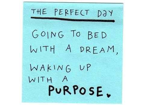 Good Clarity Quotes ~ The Perfect Day Going To bed With a dream waking up with a Purpose