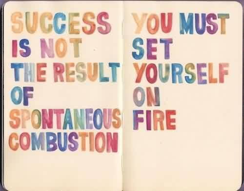 Good Graduate Quotes ~Success Is Not The Result Of Spontaneous Combustion You Must Set Yourself On Fire.