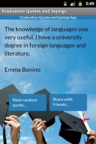Good Graduation Quote ~The knowledge of languages was very useful. I have a university degree in foreign languages …