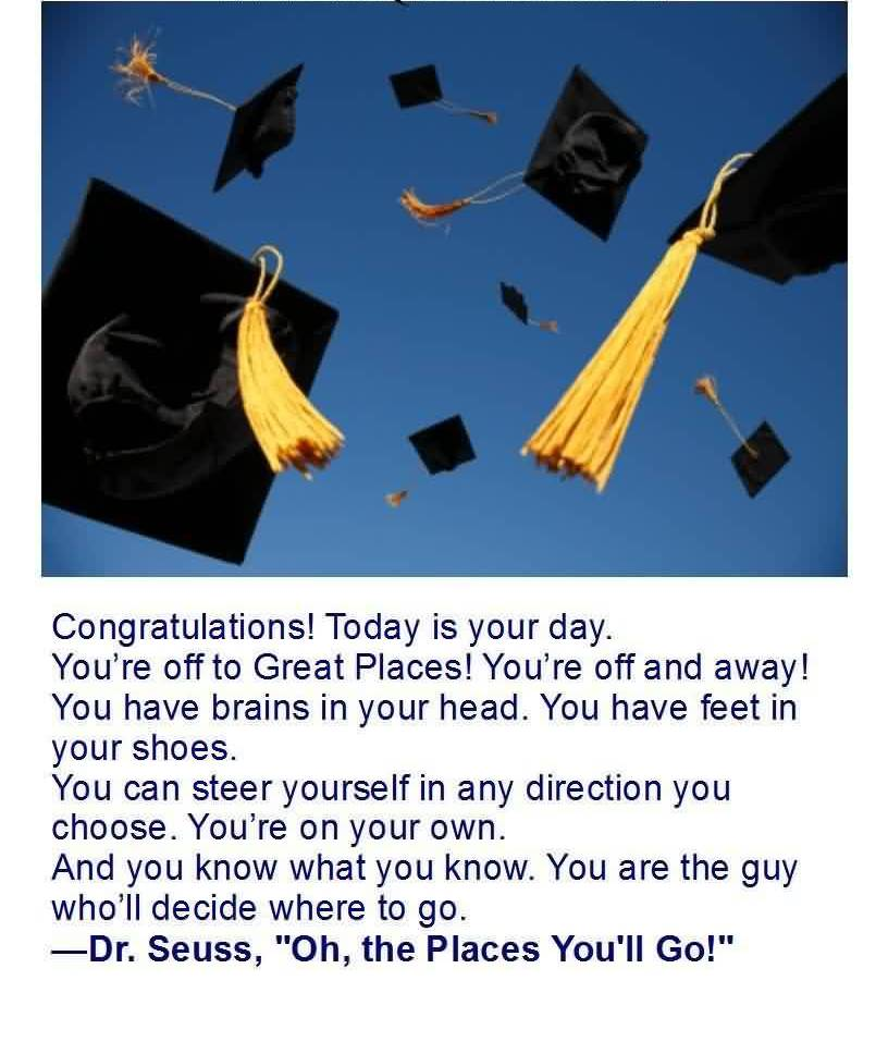 Good  Graduation Quotes By Dr. Seuss ~ Congratulations Today Is Your Day.
