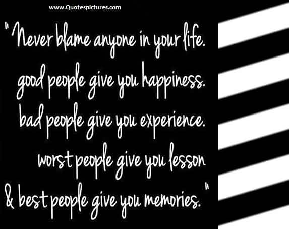 Inspriational Life Quotes - Never blame anyone in your Life