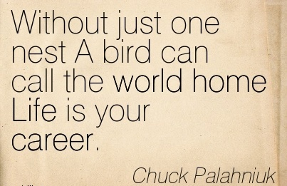 Life Career Quotes By   Chuck Palahniuk~Without Just One Nest A Bird Can Call The World Home Life Is Your Career.