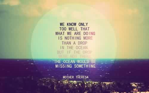 Life Quotes by mother theresa - The ocean would be missing something