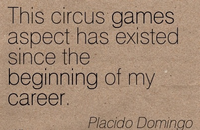 Nice Career Quote by  Placido Domingo~This Circus Games Aspect Has Existed Since The Beginning Of My Career.