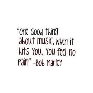 Nice  Celebrity Quote By Bob Marley~ One good Thing about music,when it hits you, you feel no pain.