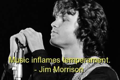Nice  Celebrity Quote By Jim Morrison~ Music inflames temperament