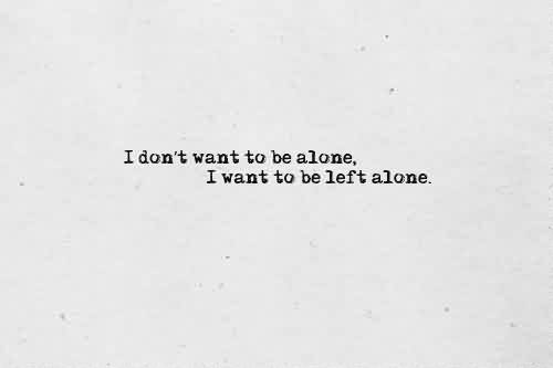 Nice Celebrity Quote ~ I don't want to be alone, I want to be left alone.