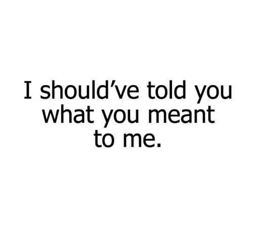 Nice  Celebrity Quote~ I should've told you what you meant to me.