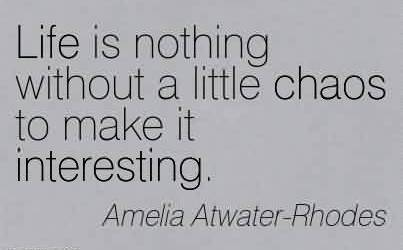 Nice Chaos Quote by Amelia Atwater-Rhodes~Life Is Nothing Without A Little Chaos To Make It Interesting.
