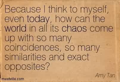 Nice Chaos Quote by Amy Tan ~ Because I Think To Myself, Even Today, How Can The World In All Its Chaos Come Up With So Many Coincidences, So Many Similarities And Exact Opposites!