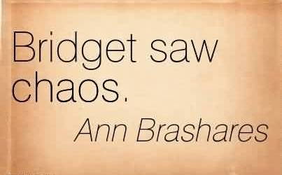 Nice Chaos Quote by Ann Brashares~ Bridget Saw Chaos.