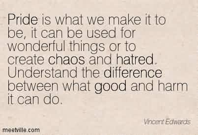 Nice Chaos Quote By Vncent Ewards~Pride is what we make it to be, it can be used for wonderful things or to create chaos and hatred. Understand the difference between what good and harm it can do.