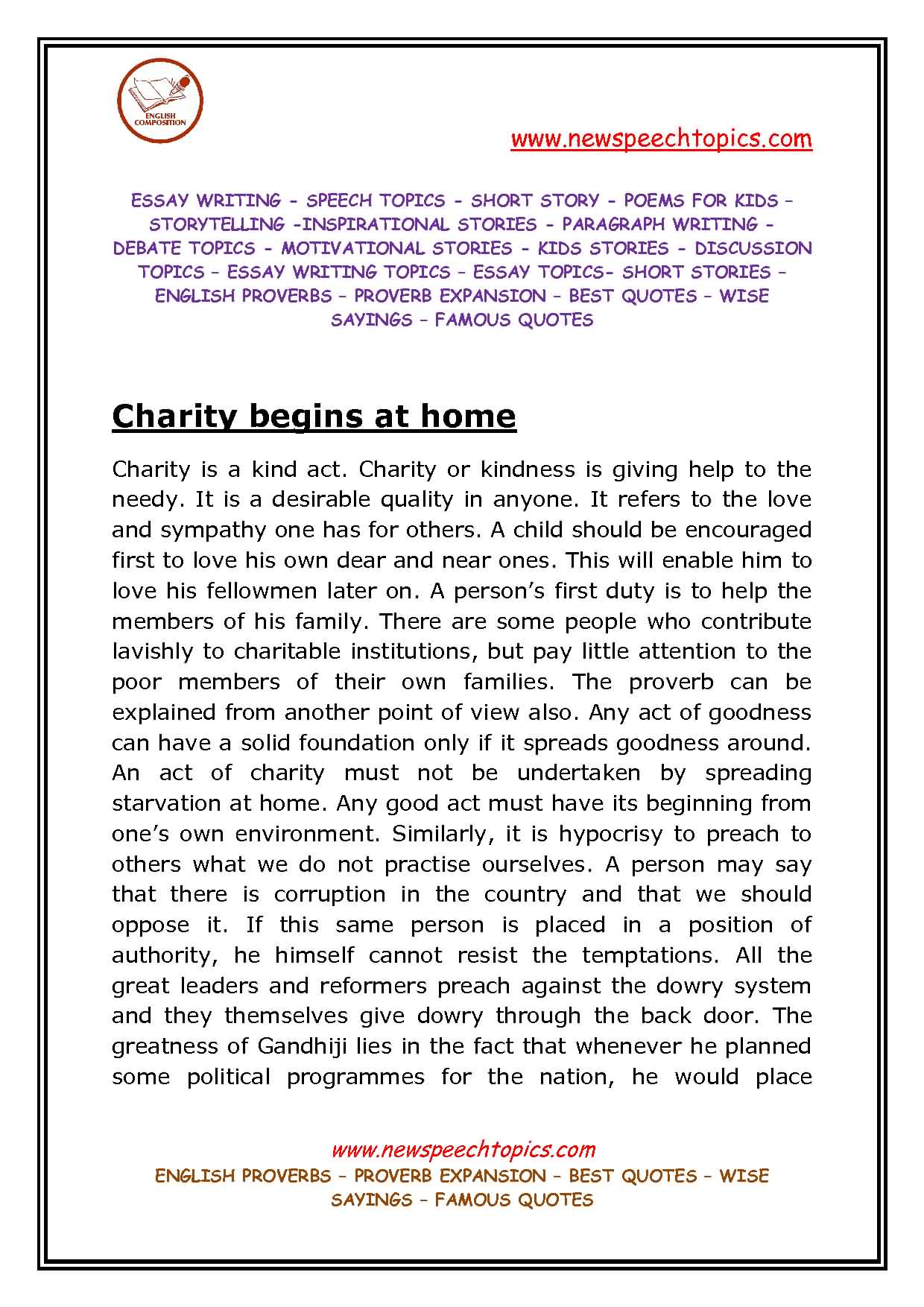 Best essay on charity begins at home