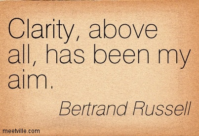 Nice Clarity Quote By Bertrand Russell~Clarity, above all, has been my aim.