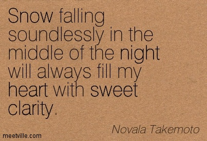 Nice Clarity Quote By Novala Takemoto~Snow falling soundlessly in the middle of the night will always fill my heart with sweet clarity.