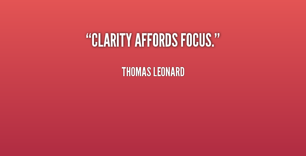 Nice Clarity Quotes by Thomas Leonard~ Clarity affords focus.