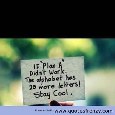 Nice Graduation Quote ~ If Plan A didn't work. The alphabet has  more letters stay Cool.