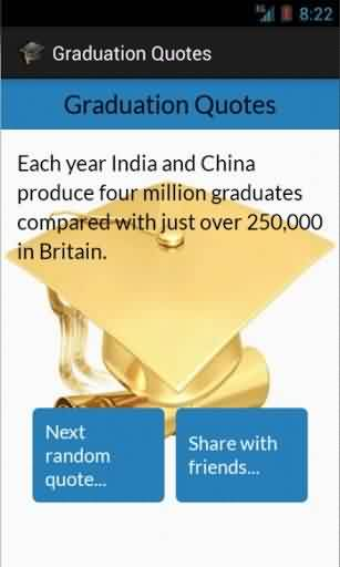 Nice Graduation Quotes ~Each Year India And China Produce Four Million Graduates Compared With Just Over 250,000 In Britain.