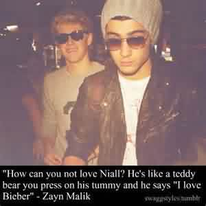 "Popular Celebrity Quote By Zayn Malik~ How can you not love niall.. He's like a teddy bear you press on his tummy and he says ""i love bieber"""
