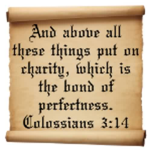 Popular Charity Quote ~ And above all these things put on rharity, which is bond of perfectness.