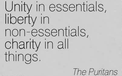 Popular Charity Quote By The Puritans ~ Unity in essentials, liberty in non-essentials, charity in all things.