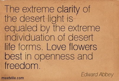 Popular Clarity Quote By Edward Abbey ~ The extreme clarity of the desert light is equaled by the extreme individuation of desert life forms. Love flowers best in openness and freedom.