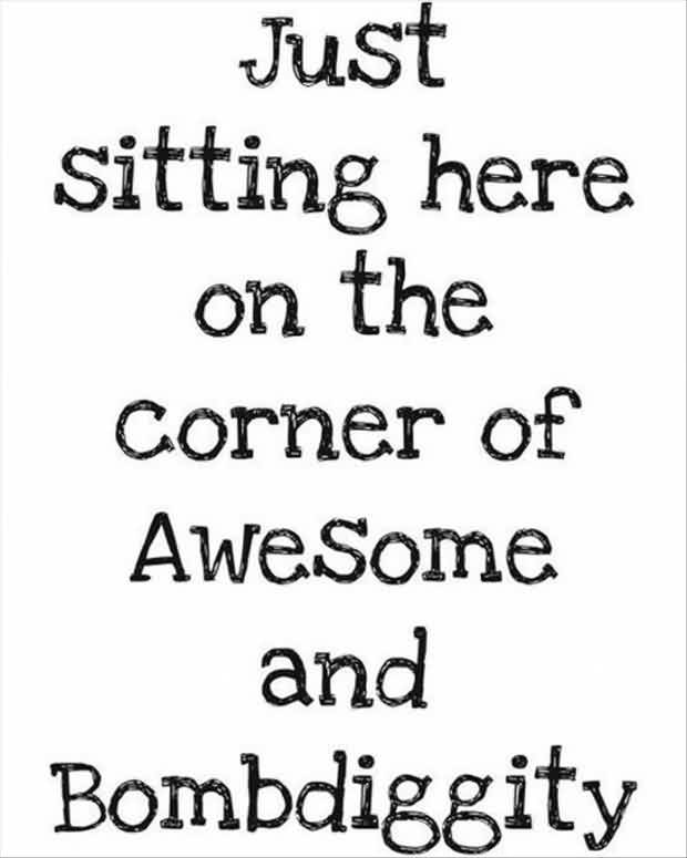 Short Funny facebook Quotes -Just sitting here on the corner of awesome and bombdiggity
