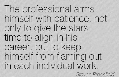 Work Career Quotes By Steven Pressfield~The Professional Arms Himself With Patience, Not Only To Give The Stars Time To Align In His Career, but to keep himself from Flaming Out in Each Individual Work.
