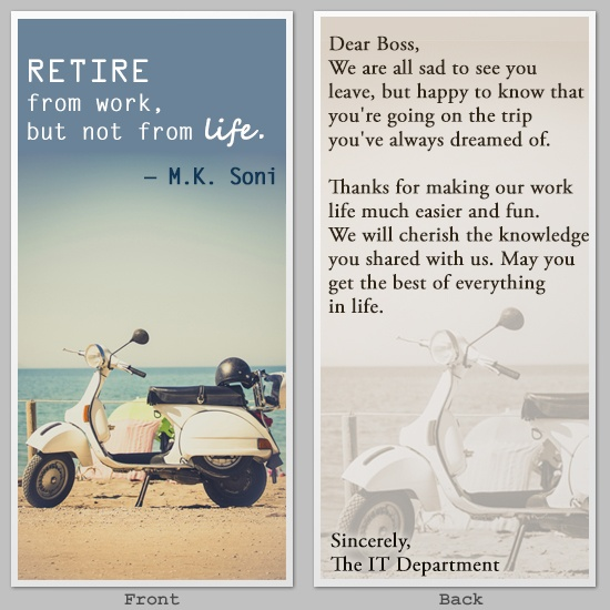 By Retirement Quotes, But Not From Life, M.K. Soni