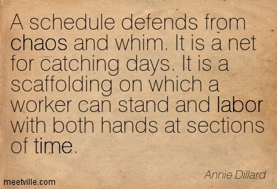 Best Chaos Quote By Annie Dillard A Schedule Defends From Chaos And