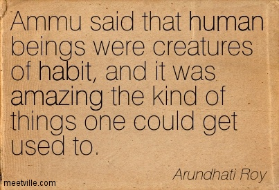 Ammu said that human beings were creatures of habit, and it was amazing the kind of things one could get used to.