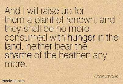 And I will raise up for them a plant of renown, and they shall be no more consumed with hunger in the land, neither bear the shame of the heathen any more.