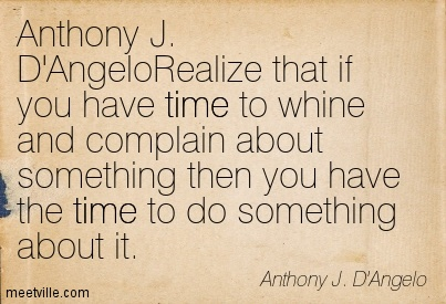 Anthony J. D'AngeloRealize that if you have time to whine and complain about something then you have the time to do something about it