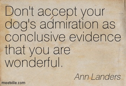 Don't accept your dog's admiration as conclusive evidence that you are wonderful.  - Ann Landers