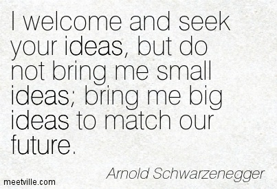 I welcome and seek your ideas, but do not bring me small ideas; bring me big ideas to match our future.