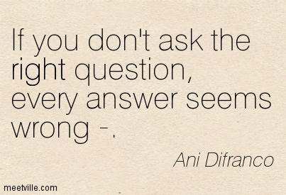 If you don't ask the right question, Every answer seems wrong — Ani Difranco