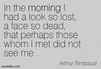 In the morning I had a look so lost, a face so dead, that perhaps those whom I met did not see me .