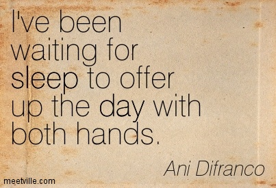 I've been waiting for sleep to offer up the day with both hands.- Ani Difranco