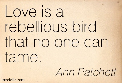 Love is a rebellious bird that no one can tame.  - Ann Patchett