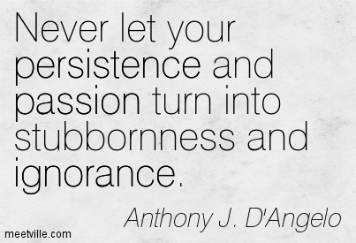 Never let your persistence and passion turn into stubbornness and ignorance.