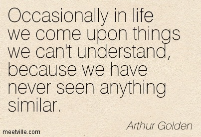 Occasionally in life we come upon things we can't understand, because we have never seen anything similar.